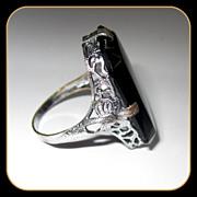 Art Nouveau Filigree Ring, Czech Glass Chromium