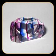 Vintage 60's Lucite Rainbow Ring, Purple & Blue