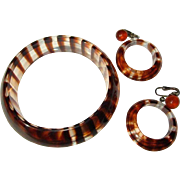 60's Lucite Earrings & Bracelet, Clear Tiger Stripes