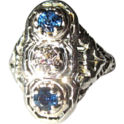 Art Deco 18K Filigree Ring, Diamond, Sapphire, White Gold