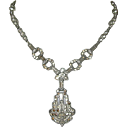 Art Deco Rhinestone Necklace, Fancy Chain