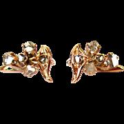 Victorian Diamond Earrings, 14K Gold & Rose Cuts