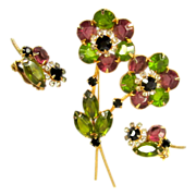 D&E Juliana Rhinestone Brooch & Earrings, Floral Layered