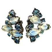 50's Blue Rhinestone Earrings, Givre Art Glass