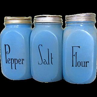 McKee Blue Salt & Pepper & Flour Range Shakers, Vintage