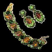 Juliana Rhinestone Bracelet & Earrings, D &E, Cats Eye
