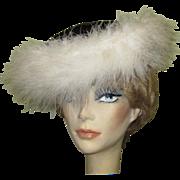 Black Velvet Hat, White Ostrich