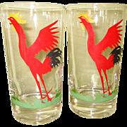 Rooster Glasses, Federal Glass, 50's, Set of 4, Vintage