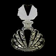 Art Deco Perfume Bottle, Carved Glass Geometric Fan