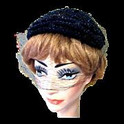 Vintage Beaded Hat, 40's,  Net, Ere Nouvelle Cap