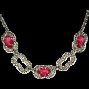 Filigree Necklace, 1920's, Vintage Czech Glass Pink & Pretty