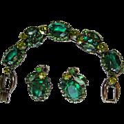 Juliana Bracelet & Earrings, Green, Japanned Demi,  D&E Rhinestone