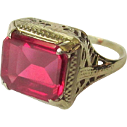 SALE 10K Filigree Ring, Synthetic Pink Sapphire, Art Deco
