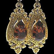 Rhinestone Drop Earrings, Filigree 60's Art Nouveau Revival