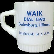 Vintage Fire King WAIK Radio, Swick & Rog Glass Mug, Galesburg