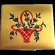 Art Deco Compact, Floral Basket, California Souvenir,40's