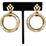 Trifari Rhinestone Earrings, Hoops, 50's, 60's
