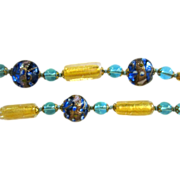 Murano Glass Necklace,  Glowing Venetian Art Glass