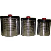Art Deco Canister Set. Chrome Kitchen Ribbed