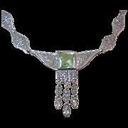 Deco Filigree Necklace, 1920's Rhinestone Drops
