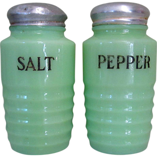 Jadite Salt & Pepper Shakers, Ribbed Jeannette Glass