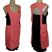 Bib Apron, Vintage 40's Red Cotton