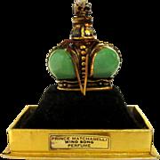 Vintage Wind Song Prince Matchabelli, Green Crown Perfume Bottle, 1953