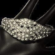 Rhinestone Clamper Bracelet, Edwardian / Nouveau, Vintage Bridal