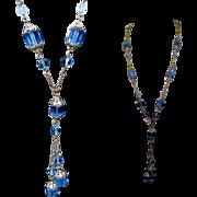 Czech Glass Necklace, Filigree Art Nouveau