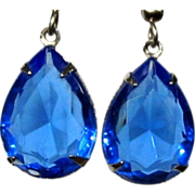 Sapphire Blue Crystal Earrings, Vintage Drops