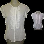 Sheer Blouse, Ruffled 80's, Fine White Cotton