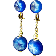 Lucite Star Sapphire Earrings, Drop Clip ons, 1950's Japan