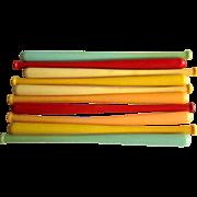 Baseball Bat Swizzle Sticks, 50's Plastic Cocktail Stirs!