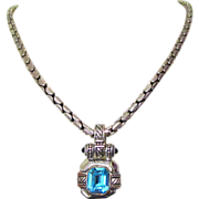 Synthetic Topaz Necklace, 80's, Heavy Chain