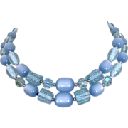 Crystal Necklace Vintage 60's, Moonglow, Lucite Glitter Beads
