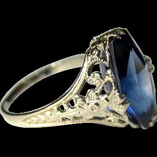 14K Filigree Ring, Art Nouveau Blue Synthetic Sapphire
