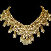 Festoon Necklace & Earrings, Rhinestones, Faux Pearls, Vintage Set