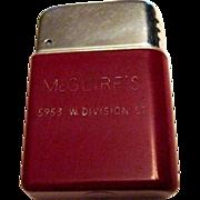 Vintage Deco Lighter, McGuire's Division St., Chicago