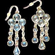 Crystal Earrings, Drop Chandelier, Vintage 1980's Bezel