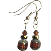 Drop Earrings, Czech Glass & Swarovski Crystal