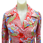 Sheer 70's Blouse, Huge Moonglow Buttons
