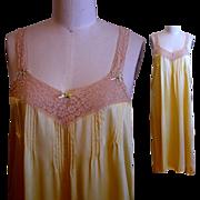 Silk Satin Nightgown, Vintage Lace,  Elegant Full Length
