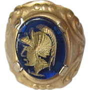 Intaglio Ring, Roman Soldier Painted Glass