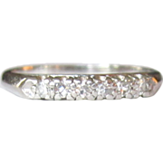 Platinum & Diamond Ring, Wedding Band, Art Deco