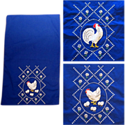 Applique Kitchen Towels, Vintage Chicken Linens