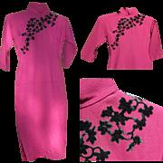 Vintage Chinese Cheongsam Dress, Wool, Silk & Velvet