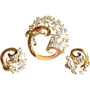 Crown Trifari Brooch & Earrings, 50's Atomic Demi Parure