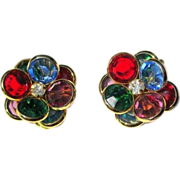 Vintage Crystal Earrings, Jewel Tones
