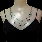 Vintage Necklace, Crystal & Art Glass Beads, Silk Cord, Multi Strand