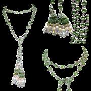 "Crystal Necklace, Bezel Set Lariat, 45"" Mint Vintage 80's"